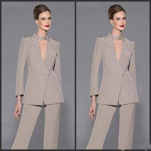 2019 Yeni Anne Gelin Pantolon Suit V Boyun Uzun Kollu Aplikler Gelin Elbiseler Of Saten Anne Custom Made Örgün Suit