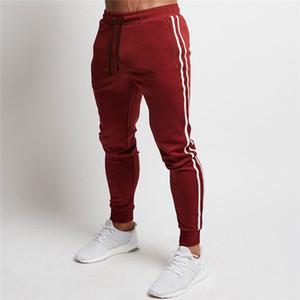 Pantalon de jogging rouge Hommes Pantalon de survêtement sport rayé Pantalon de course Pantalon de survêtement en coton pour homme Pantalon de survêtement Fitness Jogger Bodybuilding Pantalon SH190826