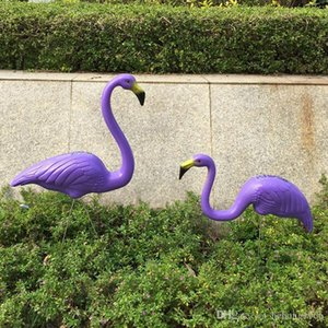 Fashion Flamingo Decoration Courtyard Purple Plastic Flamingos Ornament Outdoor Take Picture Props Wedding Giveaways Wear Resistant 38my C R