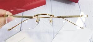 된 Fahion 브랜드 안경 남성 처방전 0011 무테 18Kgold 프레임 안경 광학 투명 렌즈 간단한 비즈니스 스타일