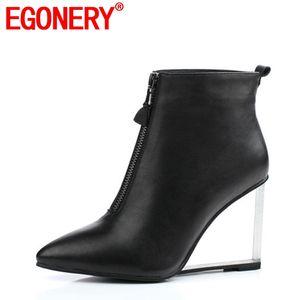 EGONERY moda şehir kadın ayak bileği çizmeler yan fermuar sivri burun sürme binicilik avrupa ve amerikan tarzı Kristal ayakkabı