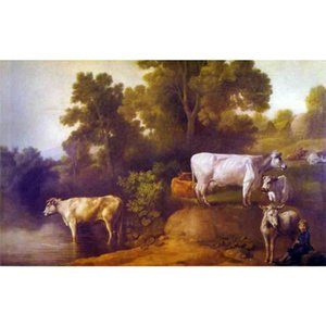 Beautiful oil painting Landscapes Cattle By A Stream George Stubbs Hand painted canvas artwork for dinning room