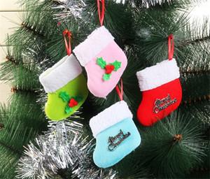 Нетканые рождественские висячие носки небольшой Холли дерево украшения носки Новый год с Рождеством домашнее украшение чулок