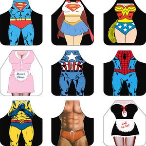Divertido superhéroe Superman Spiderman delantales de cocina Impreso a prueba de agua de cocina de dibujos animados de las mujeres Sexy Carácter Delantales party home BBQ supplies