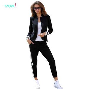 TAOVK Frauen 2 zwei Sets Stück Anzüge Langarm Stehkragen buttonless Schwarz-Weiß-Trainingsanzug