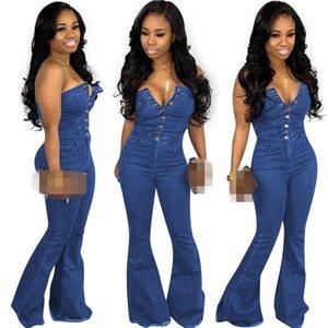섹시한 여자 청바지 Strapless Sleeveless 버튼 데님 Flare 긴 Jumpsuits 패션 Streetwear 데님 바지 캐주얼 바지