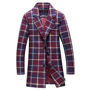 Kış Yeni Varış erkek Moda Eğlence Uzun Izgara Trençkot adamın Ceket Rüzgarlık Blazer Trençkotlar