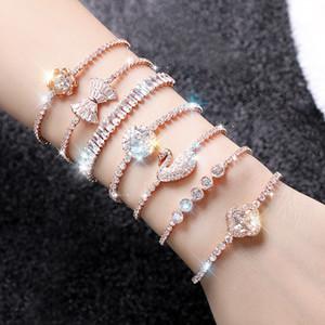 Version coréenne personnalité simple femme charme bracelet mode zircon cristal manchette bracelet mariée mariage bijoux cadeau