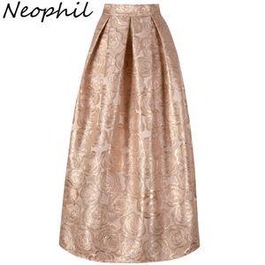Neophil 2019 Элегантные женские платья с цветочным принтом Vintage Maxi Длинные юбки Бальное платье с высокой талией Плиссированные клеш Золотого Розового цвета Longa Saia Ms1020 J190507