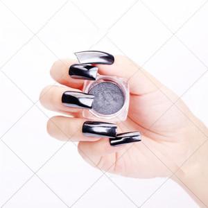Black Mirror Nail Paillettes Dazzling Brillante Chrome Poudre pigment Paillettes Nail Art Décorations Art Nails polonais Glitter
