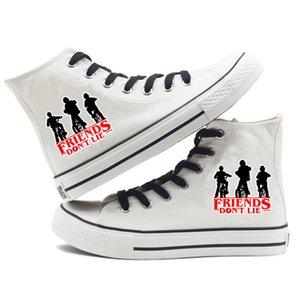 Yabancı şeyler Kadınlar Nedensel için 2019 Tuval Ayakkabı Sneaker yazdır Kpop Yüksek Topuk Lace Up Bahar Kadınlar Ayakkabı Giyim