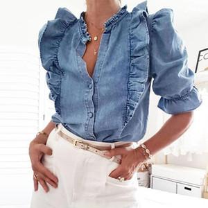 WHOSONG Elegant Ruffles Denim camicetta delle donne autunno del manicotto della farfalla Jeans Slim Shirt Vintage signore dell'ufficio Tops Blusa Plus Size