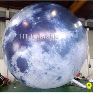 شحن مجاني حار بيع 2M LED ضوء القمر نفخ بالون للأحداث الديكور معرض نفخ MOON نموذج