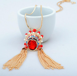 designer jewelry crystal pendant necklace chinese Peking opera facial makeup pendant necklace for women sweater necklace