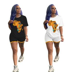 Women casual Outfits Map of Africa print Sweatsuit sports 2 piece set short sleeve t-shirt+mini shorts summer clothing slim jogger suit 3138