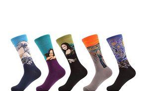 Erkek kadın Mürettebat Çorap Komik Rahat Penye Pamuklu Çorap Ünlü Boyama Sanatı Baskılı Casual Uzun Çorap Unisex NOEL çorap çorap