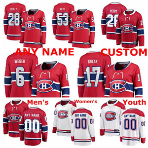 Montreal Canadiens jerseys Brett Kulak Jersey Victor Mete Jeff Petry Mike Reilly Shea Weber Rojo Blanco hockey sobre hielo de los jerseys cosido personalizada