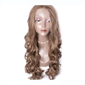 Modern Show Light Brown Hair Colored Synthetic Lace Front Wigs For Sale Loose Wave Ash Brown Color Cheap Lace Wigs For Women