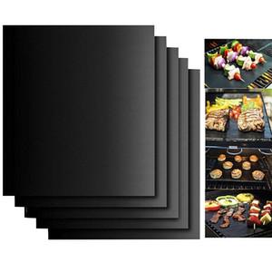 BBQ الشواية حصيرة غير عصا نزهة الأسود الشواء PTFE شوى الخبز بواخر الركاب قابلة لإعادة الاستخدام تفلون الطبخ صفائح 40x33cm