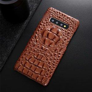 iphone X XS Max XR 7 8 Artı Arka Kapak için Samsung S10 S9 S8 Note9 Note10 artı Lüks Tasarımcı Timsah Kafa Gerçek Deri Telefon Kılıfı için