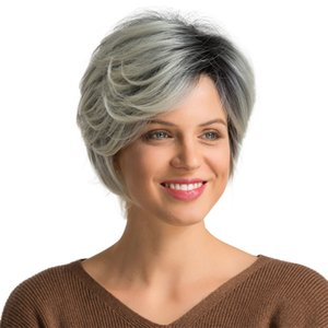 Short Silver Wigs for White Women, Fluffy Hair Wigs Natural Looking Heat Resistant Synthetic Full Wig with Wig Cap