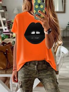 Lässige Solid Color-T-Shirts Sommer-Frauen-Designer-T-Shirt Art und Weise Black Lips Printed Kurzarmshirts Frauen