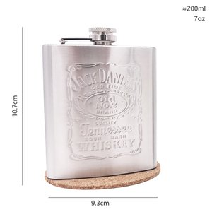 free 7oz pocket whisky embossing Imprint liquor flagon Chrome Polished Stainless steel Glossy face alcohol vodka hip flask