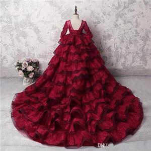 Sheer rojo oscuro de manga larga bata de pelota del desfile de la muchacha de los vestidos con gradas con cuentas hinchada parte posterior del corsé formal de los niños cumpleaños partido del Prom Vestidos BC2933