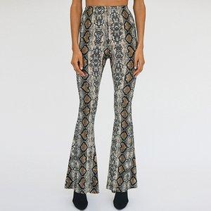 2019 Women Autumn Fashion Snake Skin Print Wide Leg Pants Sexy Party Club Flare Pants Casual Elastic Waist Trousers Pantalones