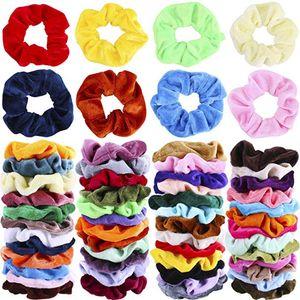 Bands Премиум Velvet волос Scrunchies Резинка для волос резинка для волос волос Tie Канаты Scrunchie Ponytail Holder Группы для женщин девочек - 50 цветов