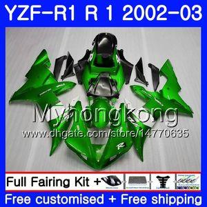 Bodys Para YAMAHA YZF-1000 YZF R 1 YZF R1 2002 2003 fábrica de carroçaria verde quente 237HM.42 YZF 1000 YZF-R1 02 YZF1000 Armação YZFR1 02 03 Carenagem