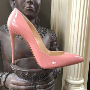 zapatos foto real señora del cuero genuino de charol rosa del punto del dedo del pie de la señora alto talón del envío señoras de la bomba tacones de aguja de 12 cm 10 cm 8 cm