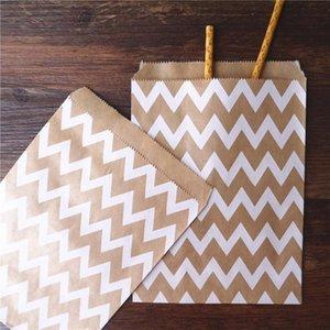 100 unids 13x18cm Craft Treat Candy Bolso a rayas de alta calidad Favoritos de fiesta Bolsas de papel Papel Impreso Bolsas Bolsa de panadería