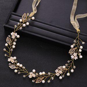 Vintage Gold Crystal Pearl Wedding Headband Flower tiara Bridal Hair Accessories Bride Headpiece Handmade Weding Hair Jewelry