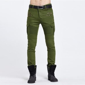 cloth 2019 Fashion Military trousers army green   black jeans pants motorcycle biker jeans men washing to do Trousers Casual Runway Denim