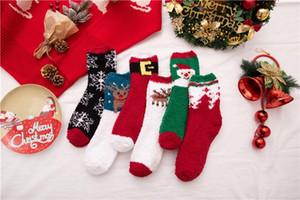 С Рождеством женские Дизайнерские носки Симпатичные рождественские печати Толстая женщин Коралловые шерстяные носки Повседневная Женщины Одежда
