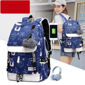 Designer Large Schulranzen für Teenager USB mit Lock-Anti-Diebstahl-Rucksack Frauen-Buch-Tasche Big Schule Tasche Jugend Freizeit Hochschule