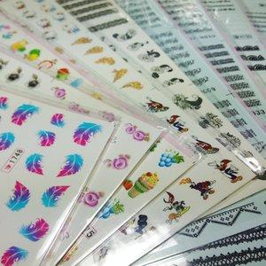 9pcs Nail Art transfert d'eau autocollant Decal Stickers ** 108 Fleur style Plume Kitty Noir Blanc Dentelle Chat Fruit Cartoon Décoration Conseils Wraps
