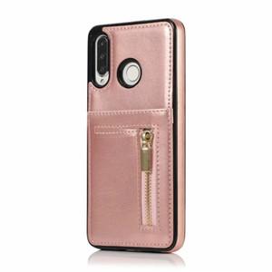 Billetera de bolsillo para tarjetas de cuero para Huawei P30 Pro Mate 20 Lite Flip Vertical Cremallera Moneda Dinero Tarjeta de identificación Ranura de la caja Teléfono Atrás Estuche Cubierta Lujo