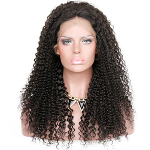 Full Lace Human Hair Wigs Kinky Curly Pre-plucked Perimeter with BabyHair Brazilian Hair Natural Hairline With Babyhair