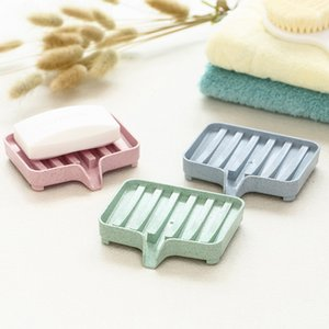 Portaesponja PP trigo almacenamiento de paja escurridor Soap Box Bandeja Soapbox Ducha Jabón herramienta de la bandeja del jabón chapa de fijación del plato envío
