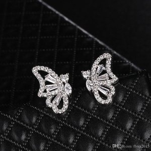 new fashion cubic zirconia jewelry white gold color plated butterfly earrings for women high quality ladies carter love bijoux accessories