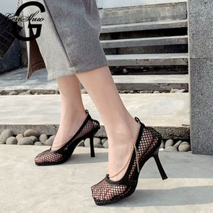 GENSHUO Moda Kadınlar Seksi Mesh Sandalet Kare Ayak yüksek topuk Zinciri oyuk Parti Elbise ayakkabı Zapatillas Pompalar
