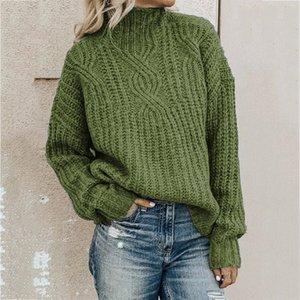 Женские свитера. Восстанавливая водолазка Женщина свитер пуловеры вязание сплошной 0-шеи осень зима хлопок повседневная уличная одежда с длинным рукавом женщин