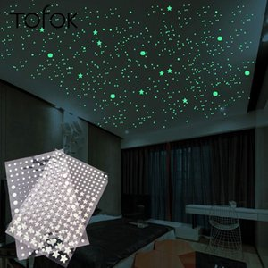توفوك فقاعة 3D202PCS / set Stars Dots Luminous Wall Sticker Die Bedroom Kids Room Glow in Dark Floorcent Home Decoration