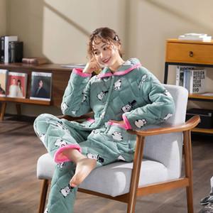 Ladies Home Service Set Winter проложенный хлопок Пижамы Плюс Velvet Утолщение Мягкая Комфортная теплая Трехслойные ватки коралла хлопок брюки
