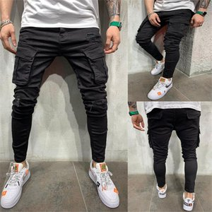 Mens multi Pocket Ripped Stretch Jeans Designer Solid Color Casual Fit Jeans Slim Fashion Pantalons Homme