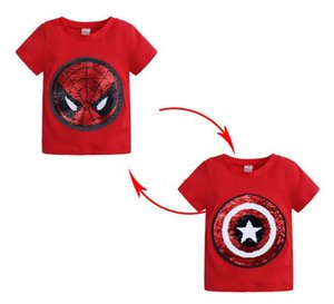 baby kids  clothing t shirt round collar short sleeve paillette Change Color Design T shirt 1-8T