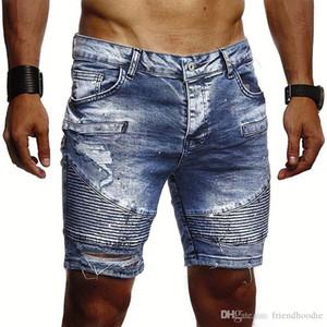 Ковбой Hole Сложенные шорты Дизайнер Сплошные цвета Тонкий Жан Брюки мужские Мода на молнии Джинсы Брюки