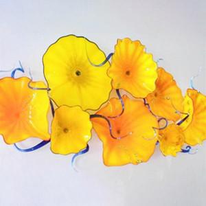 Plaques de mur de fleur d'art Audacieuse mur jaune lumières Hall d'entrée élégant Hôtel Plaques décoratives tenture Art Livraison gratuite